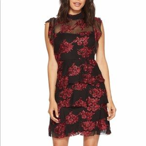 Black red Romeo and Juliet couture dress, sheer